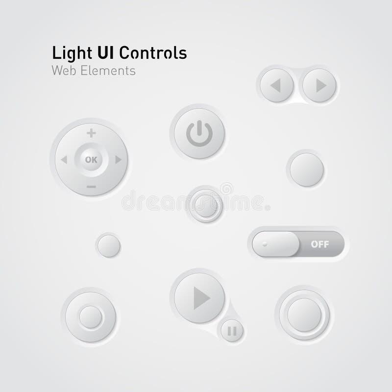 buttons rengöringsduk för ui för switchers för kontrollelement ljus vektor illustrationer