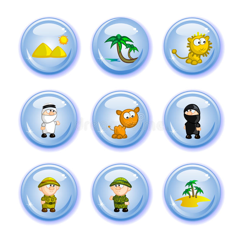Buttons safari. A set of buttons tourism theme. Comic figurines. Africa, safari, deserts. National flavor. Isolated vector illustration