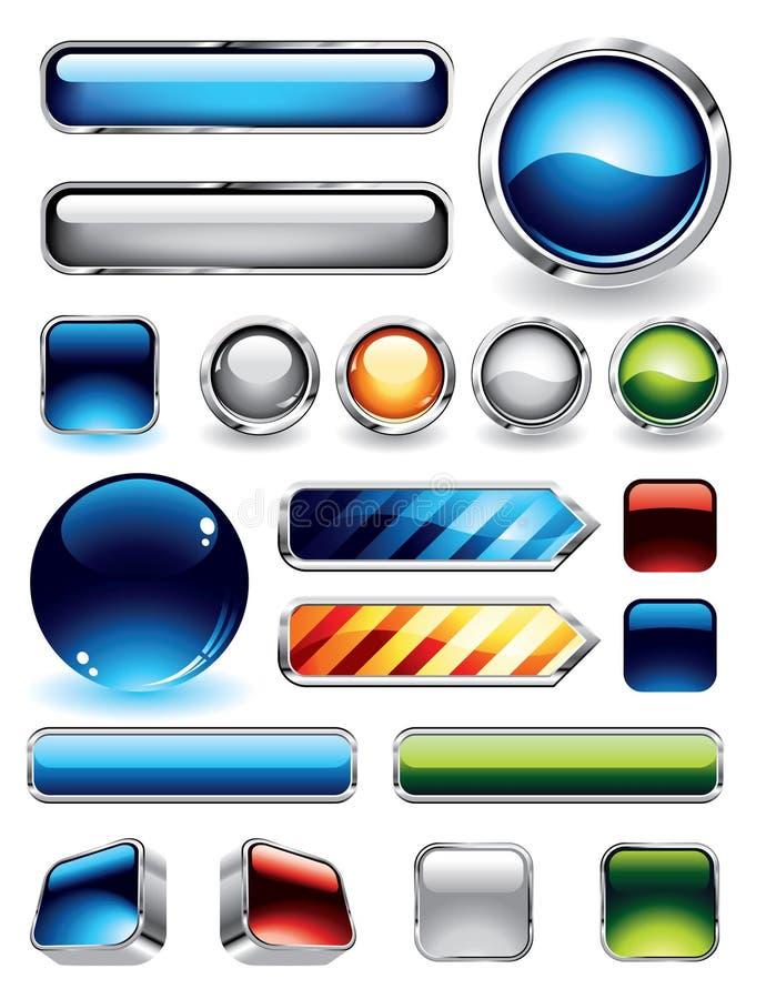 buttons samlingen glansig stock illustrationer