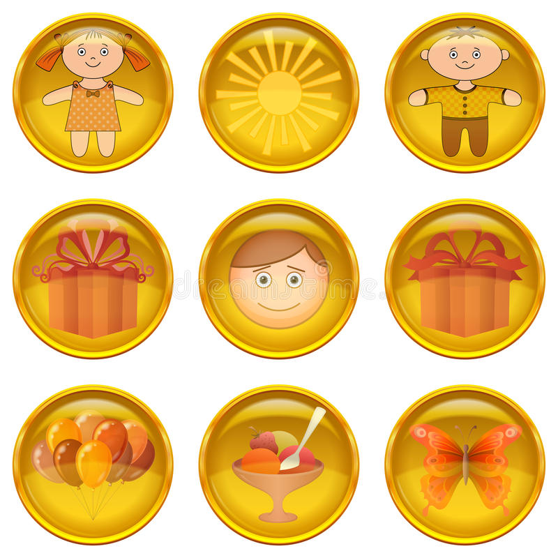Download Buttons set, childhood stock vector. Image of food, eps10 - 32742018