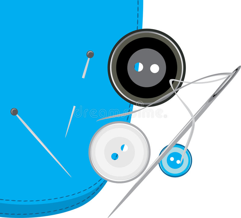 Buttons, sewing needle with thread on the fabric vector illustration