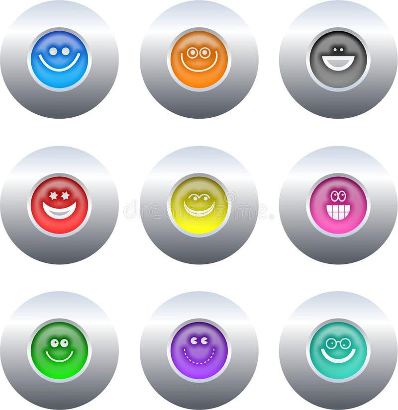 buttons smilie royaltyfri illustrationer