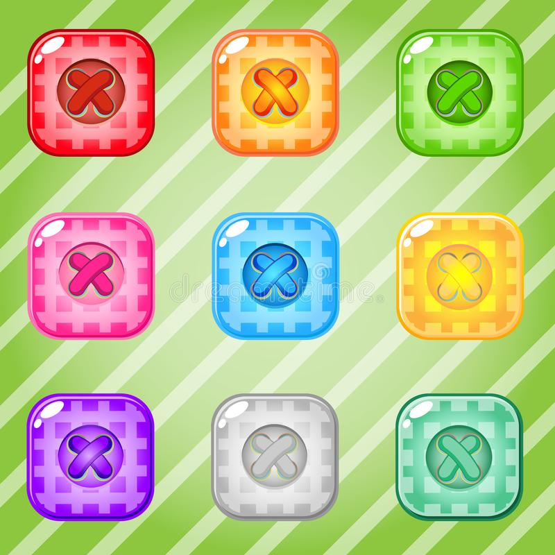 Buttons Square of bright colors set fo clothing. Collection cute glossy in different colors. royalty free illustration