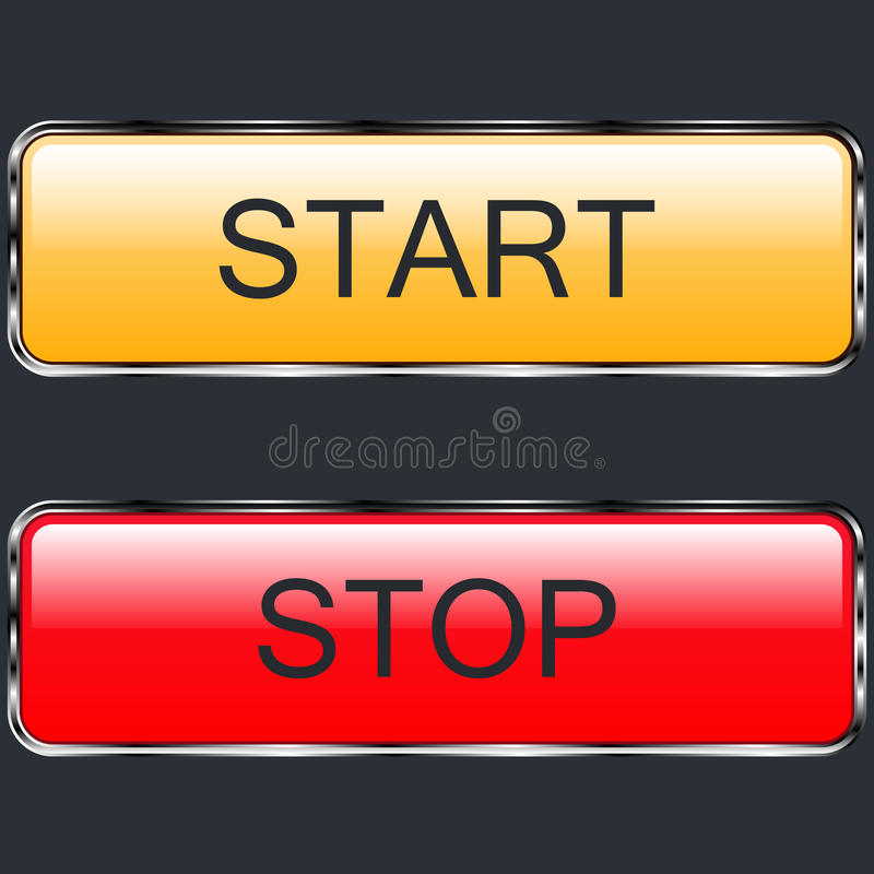 Buttons start and stop glossy colored metal royalty free stock images
