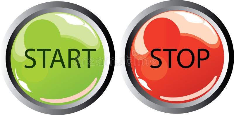 buttons startstoppet vektor illustrationer