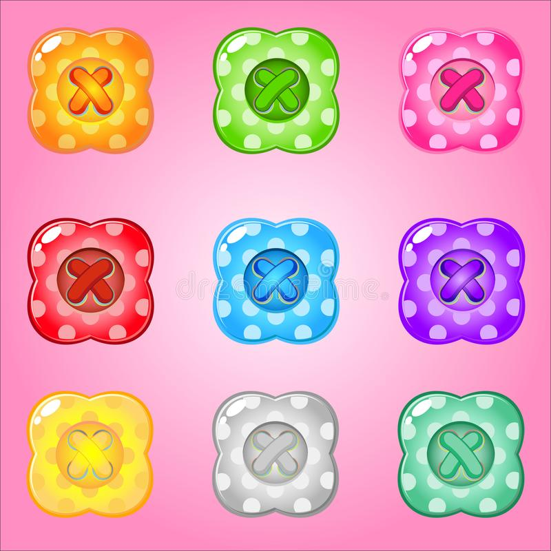 Buttons Style Four leaves of bright colours set fo clothing. stock illustration