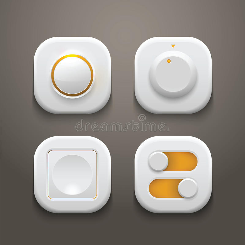 Buttons And Switches Set With Realistic Light And Stock Vector ...