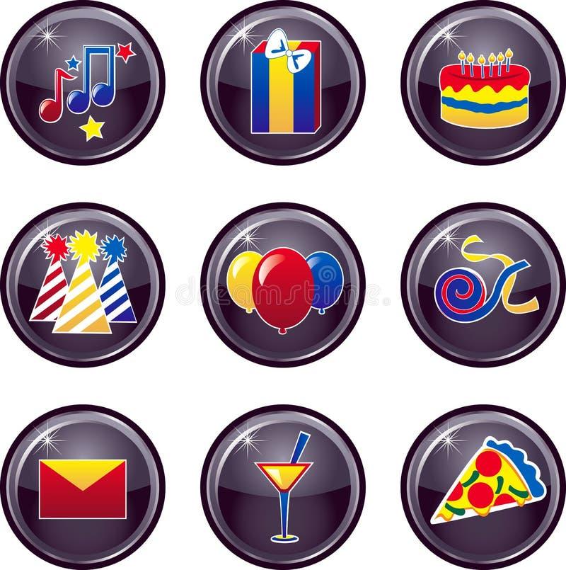 buttons symbolsdeltagaren royaltyfri illustrationer