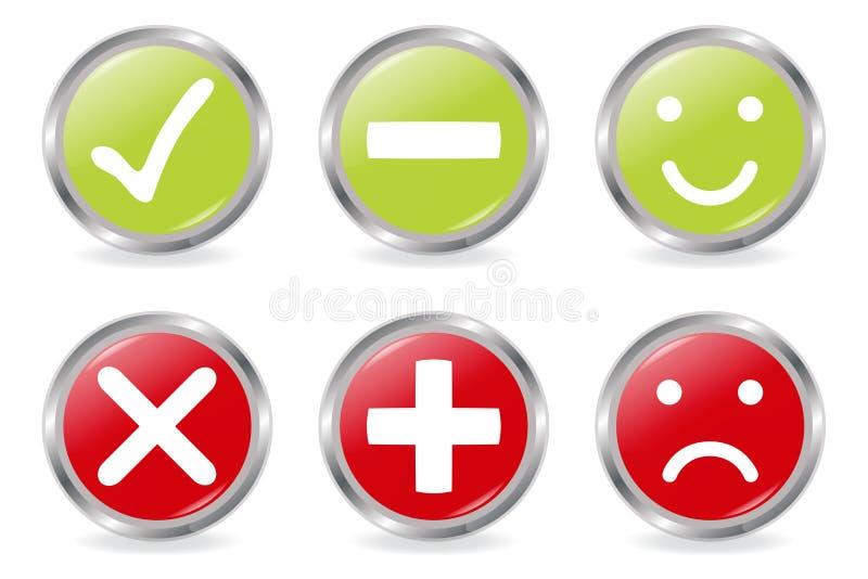 buttons symbolsgodkännande royaltyfri illustrationer