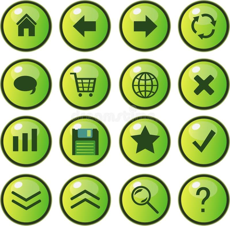 buttons symbolsrengöringsduk stock illustrationer