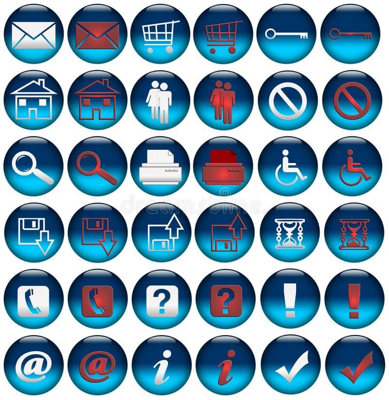 buttons symbolsrolloverrengöringsduk royaltyfri illustrationer