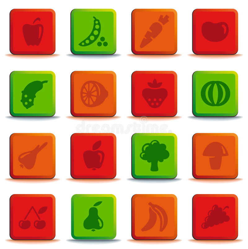 Download Buttons Of Vegetables And Fruit Stock Vector - Image: 22089094