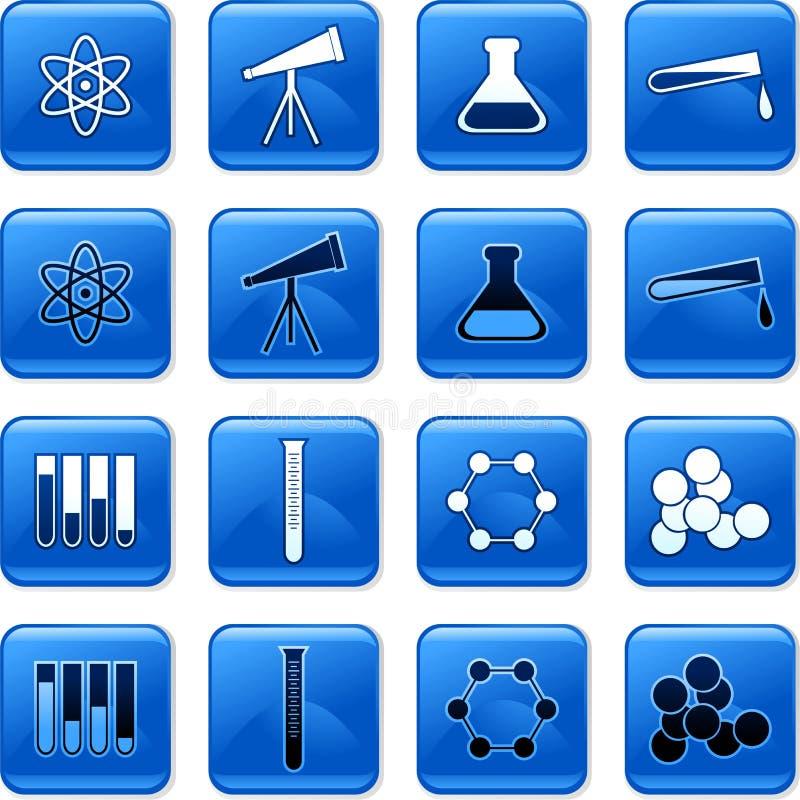buttons vetenskap royaltyfri illustrationer