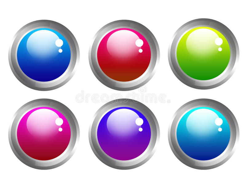 Buttons web. Blue, red, green, pink, violet buttons web isolated over white background royalty free illustration