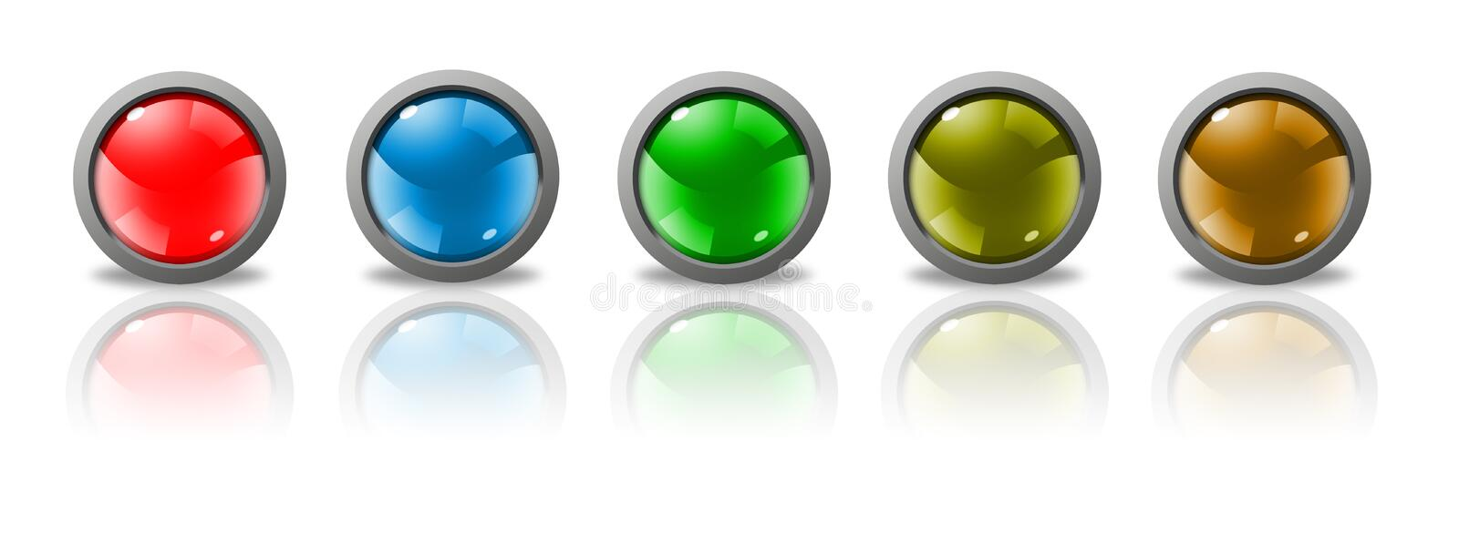 Buttons for web. With shadows and reflections over white background vector illustration
