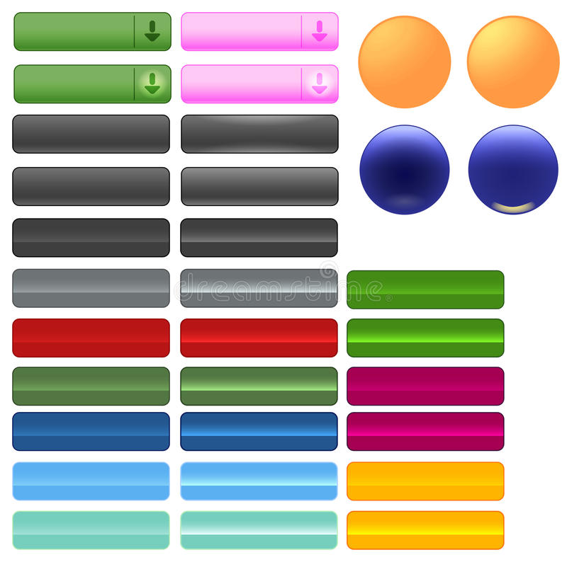 Buttons for web or other use. A small group of buttons with on or off states (highlighted on not highlighted), and if the vector file is used, scaled into any royalty free illustration
