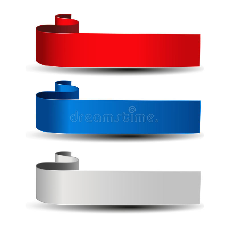 Buttons for website or app. Grey, red and blue label. Bent ribbon. Possible uses for text Buy now, Subscribe, Sign Up, Register. Download, Upload, Search, Next stock illustration