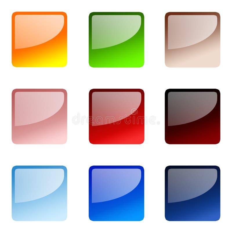 buttons website för set fyrkant stock illustrationer