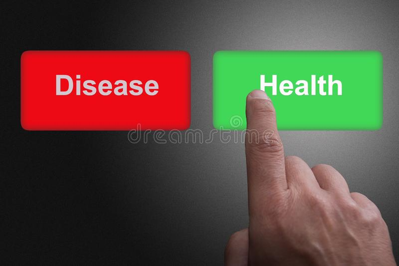 Buttons with written disease and health and pointing finger, on a gray gradient background. Two Buttons with written disease and health and pointing finger, on a stock illustration