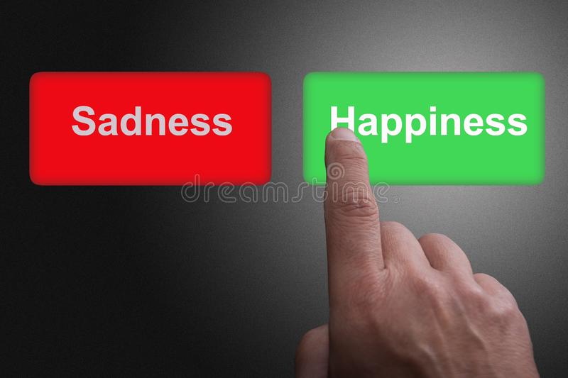 Buttons with written sadness and happiness and pointing finger, on a gray gradient background. Two Buttons with written sadness and happiness and pointing finger stock illustration