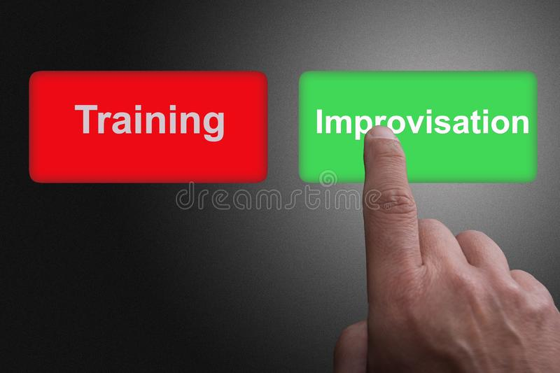 Buttons with written training and improvisation and pointing finger, on a gray gradient background. Two Buttons with written training and improvisation and stock illustration