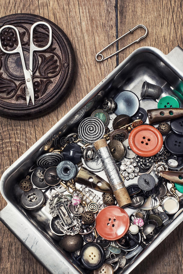 Buttons and zipper and sewing tool. Set deprecated tools for sewing monochrome style stock image