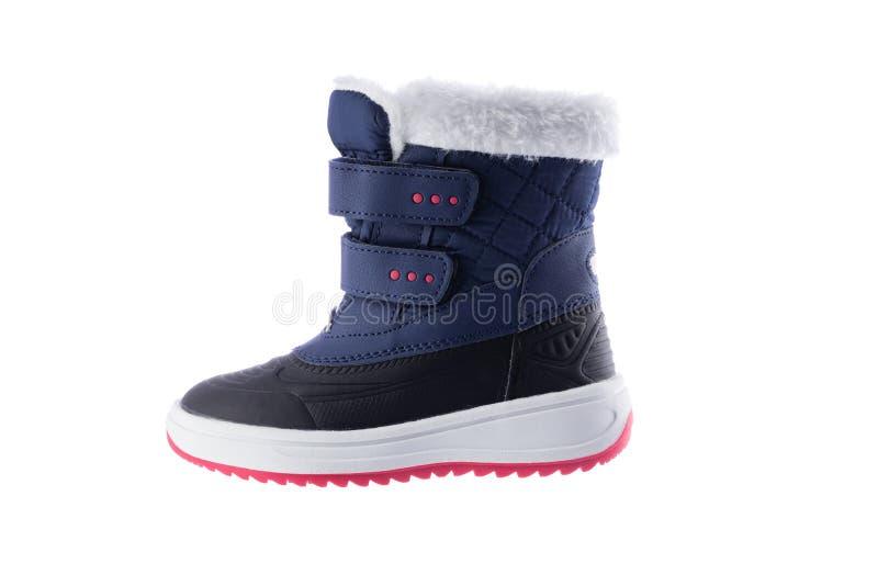 Buty dla zimy przyprawiają, dzieciak kolekcja, odizolowywająca na białym tle fotografia royalty free