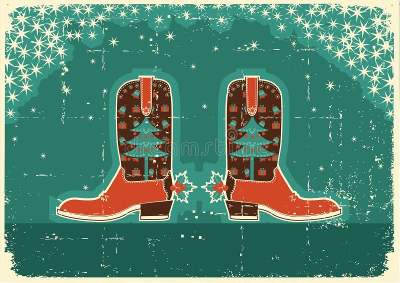 buty gręplują boże narodzenia kowbojskich ilustracji