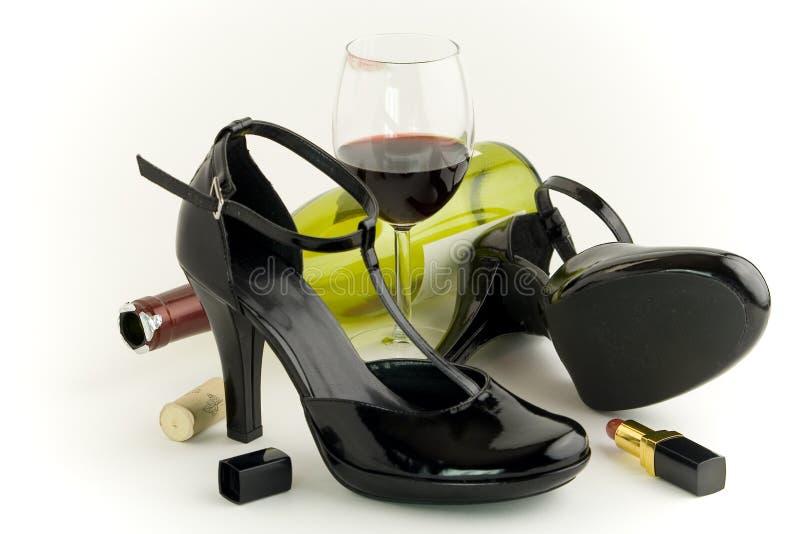 Buty i wino zdjęcia royalty free