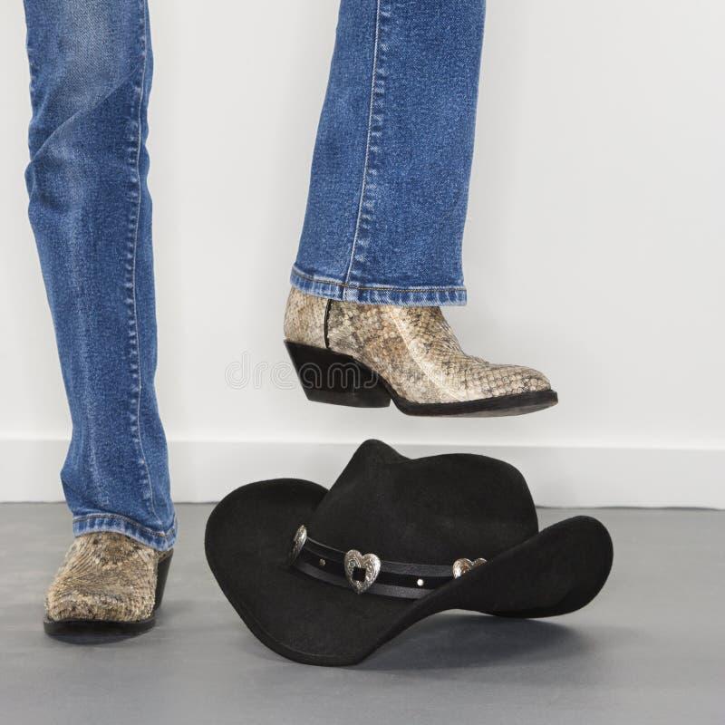 buty kapelusz kowbojski ciężki obrazy stock