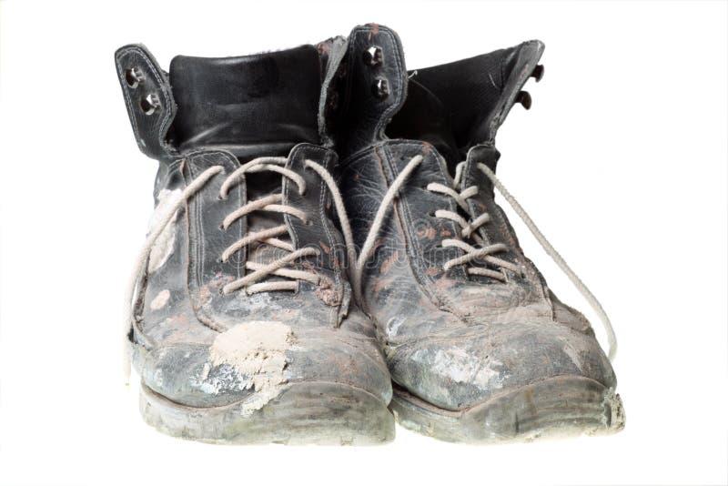 buty odizolowywali stary być ubranym starą biały pracę obraz stock