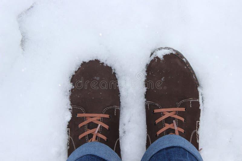Buty w śniegu zdjęcie stock