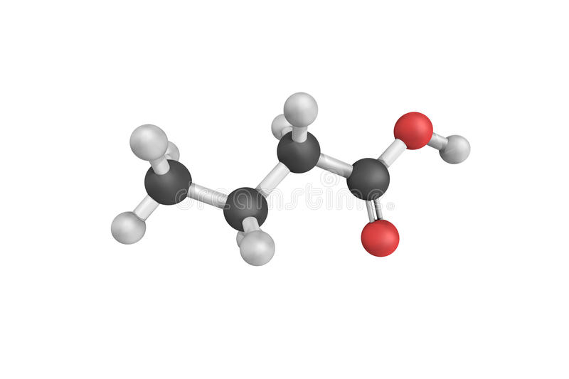 Butyric acid, a carboxylic acid found in milk, especially goat, stock photography