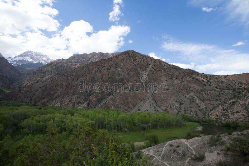 Buurt van het meer van Iskander Kul Fann Mountains tajikistan T royalty-vrije stock foto