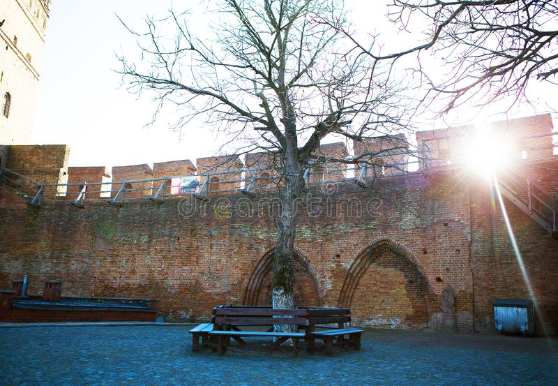 Buurt van het oude Lubart-kasteel in Lutsk, de Oekraïne royalty-vrije stock fotografie