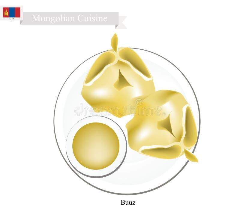 Buuz ou bolinha de massa do Mongolian servida com molho ilustração royalty free