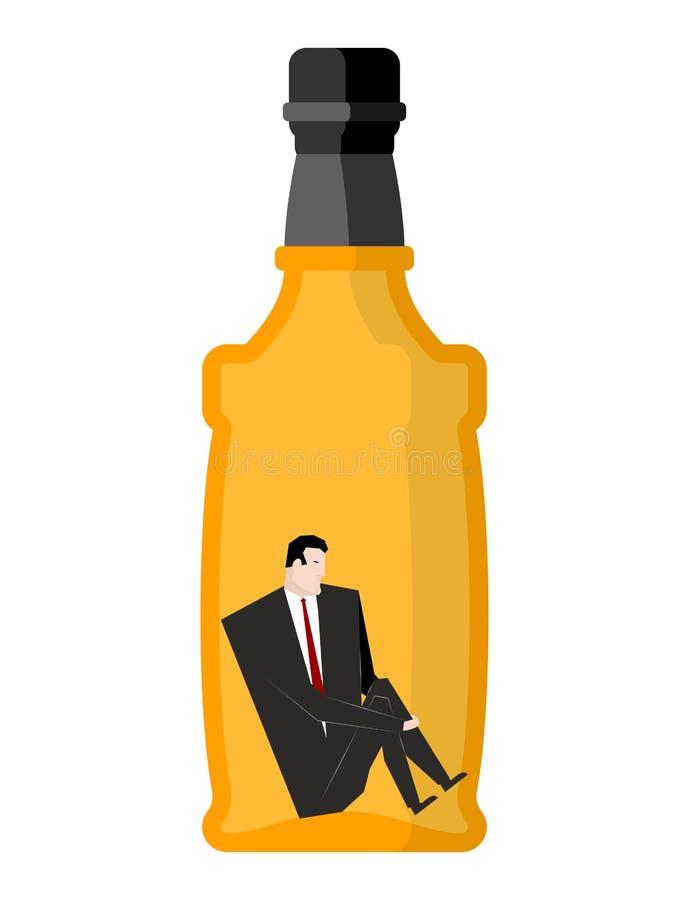 Buveur d'homme à l'intérieur des bouteilles Homme d'affaires s'asseyant dans un bott vide illustration libre de droits