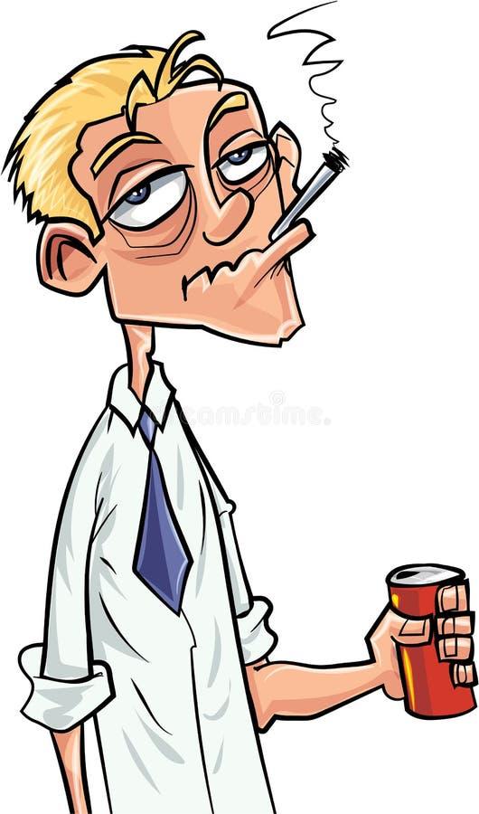 Buveur et fumeur de bière de bande dessinée illustration libre de droits
