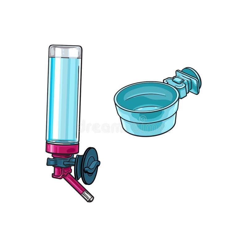 Buveur rechargeable automatique, cuvette en plastique pour l'animal familier, cage de perroquet, caisse illustration stock