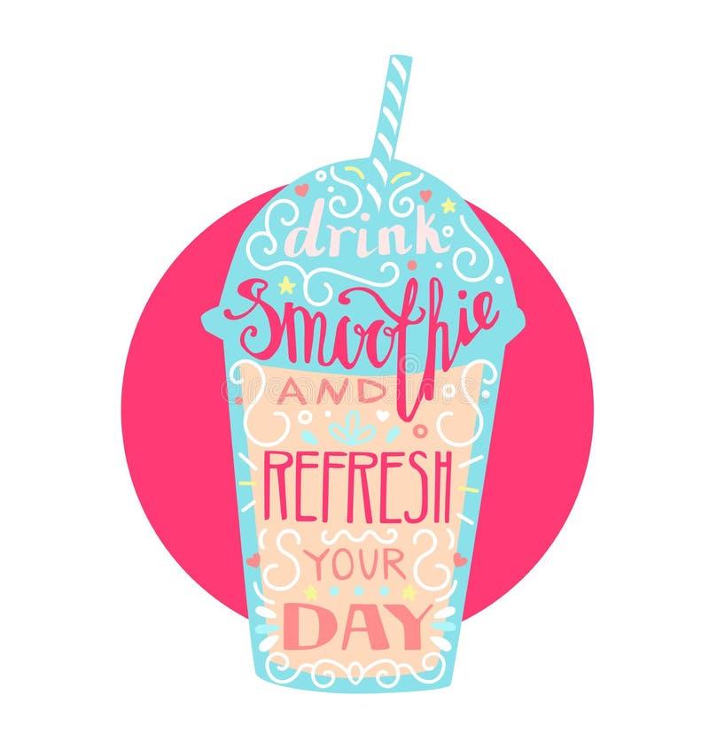 Buvez le smoothie et régénérez votre jour illustration de vecteur