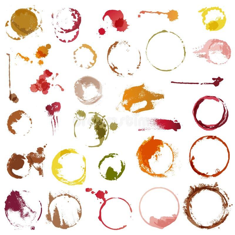 Buvez le vecteur de taches souillant des cercles de l'ensemble d'illustration de tasse de café ou en verre de vin de baisses liqu illustration libre de droits