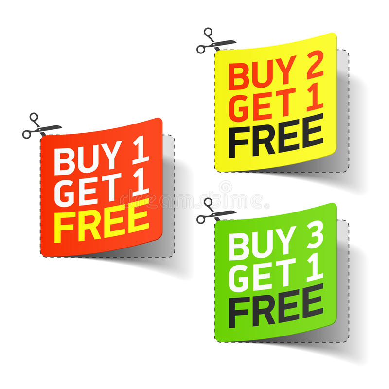 Free Buy 1 Get 1 Free Promotional Coupon Royalty Free Stock Images - 46787739