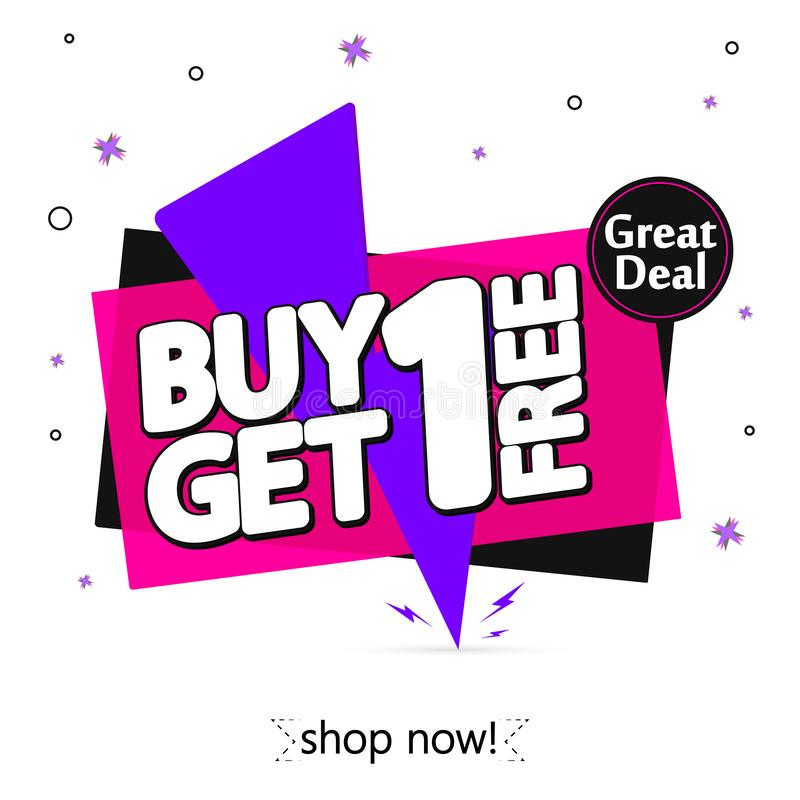 Free Buy 1 Get 1 Free, Sale Banner Design Template, Flash Discount Tag, App Icon, Vector Illustration Stock Images - 149876484