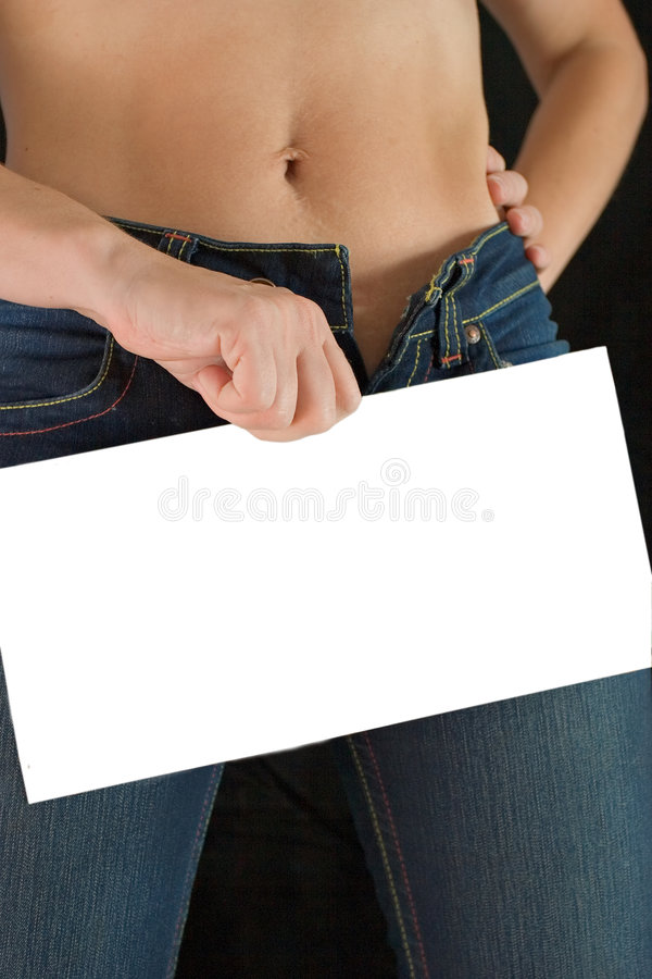 Buy it. Woman with blank sign