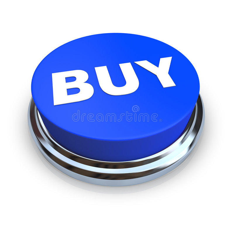 Buy Button - Blue. A round, blue buy button on a white background stock illustration