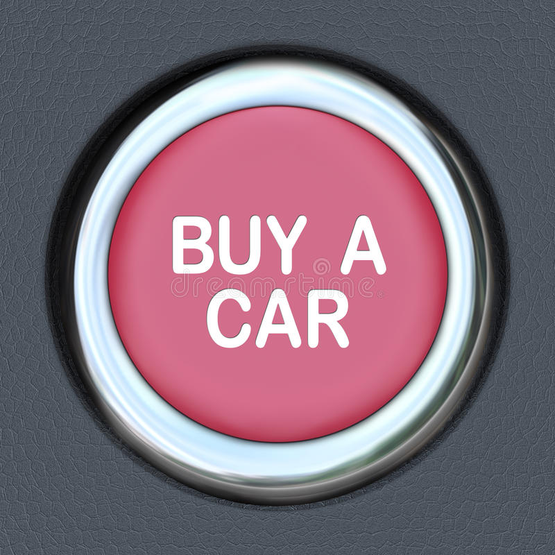 Buy a Car Push Button Start Browsing Shopping for Vehicle vector illustration