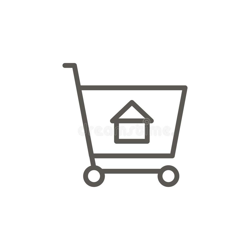 Buy, cart, house, shopping vector icon. Simple element illustration from UI concept. Buy, cart, house, shopping vector icon. Real stock illustration