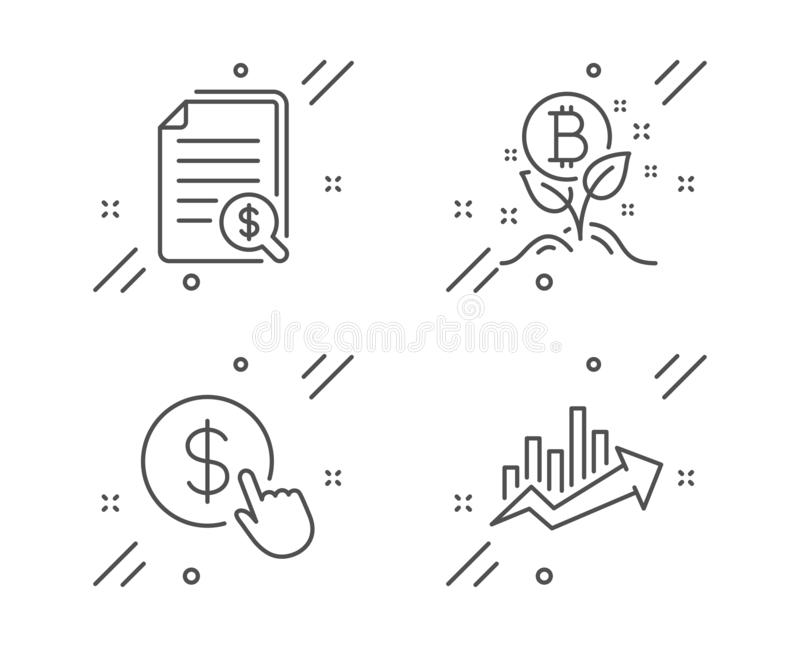 Buy currency, Financial documents and Bitcoin project icons set. Growth chart sign. Vector. Buy currency, Financial documents and Bitcoin project line icons set vector illustration