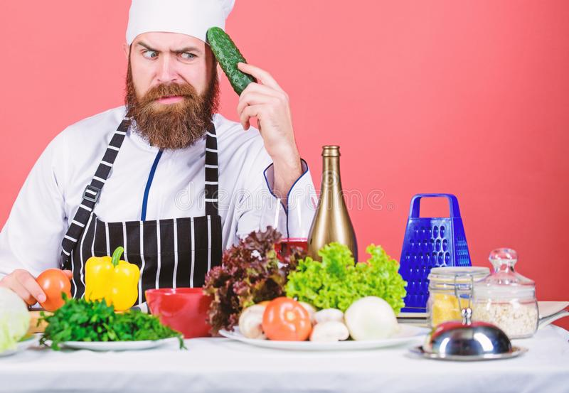 Buy fresh vegetables grocery store. Vegetarian restaurant. Hipster chief chef vegetarian cafe. Vegetarian recipe concept royalty free stock images