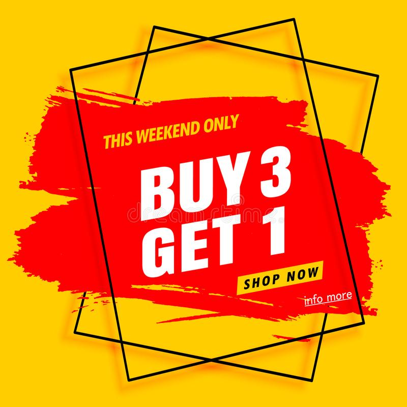 Buy 3 get 1 free banner, sale banner template stock photo